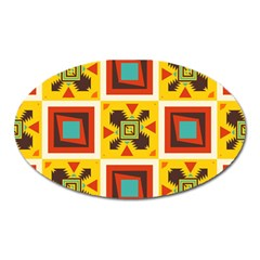 Retro colors squares pattern                            			Magnet (Oval)