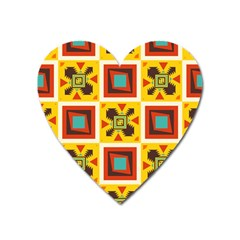 Retro colors squares pattern                            			Magnet (Heart)