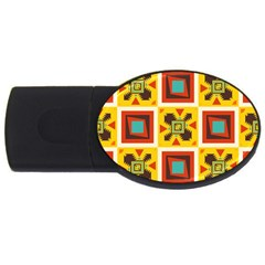 Retro colors squares pattern                            			USB Flash Drive Oval (1 GB)