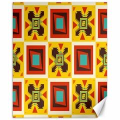 Retro colors squares pattern                            Canvas 16  x 20