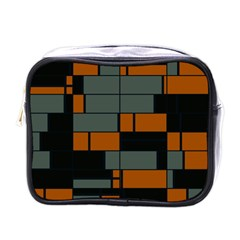 Rectangles in retro colors                              			Mini Toiletries Bag (One Side)
