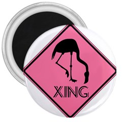 Flamingo Crossing Traffic Sign 3  Magnets
