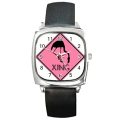 Flamingo Crossing Traffic Sign Square Metal Watch