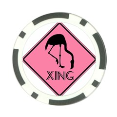 Flamingo Crossing Traffic Sign Poker Chip Card Guards (10 pack)