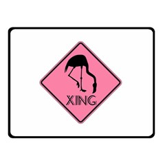 Flamingo Crossing Traffic Sign Double Sided Fleece Blanket (small)