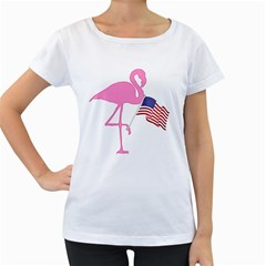 Flamingo American Flag Patriotic Women s Loose-Fit T-Shirt (White)