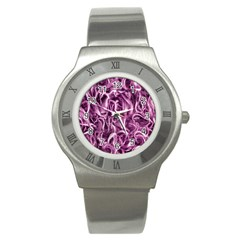 Textured Abstract Print Stainless Steel Watch