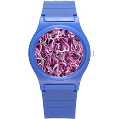 Textured Abstract Print Round Plastic Sport Watch (S)