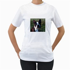 Boston Terrier Women s T-Shirt (White) (Two Sided)