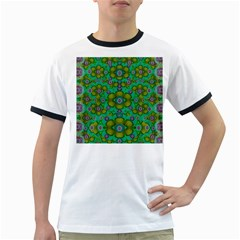 Peace Flowers In A Scandinavia Mix Of Acrylpaint Ringer T-Shirts