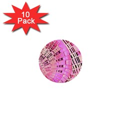 Pretty Pink Circles Curves Pattern 1  Mini Button (10 pack)