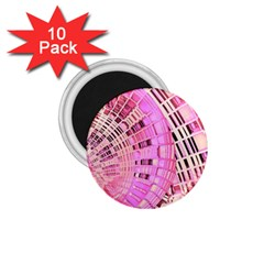 Pretty Pink Circles Curves Pattern 1.75  Magnet (10 pack)