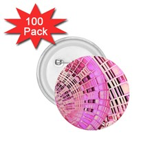 Pretty Pink Circles Curves Pattern 1.75  Button (100 pack)