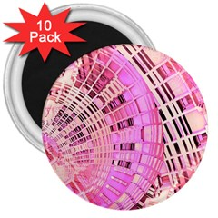 Pretty Pink Circles Curves Pattern 3  Magnet (10 pack)