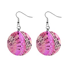 Pretty Pink Circles Curves Pattern 1  Button Earrings