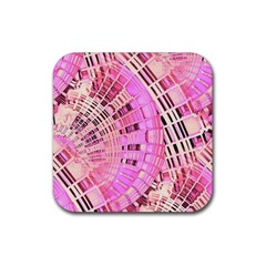 Pretty Pink Circles Curves Pattern Rubber Square Coaster (4 pack)