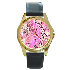 Pretty Pink Circles Curves Pattern Round Gold Metal Watch
