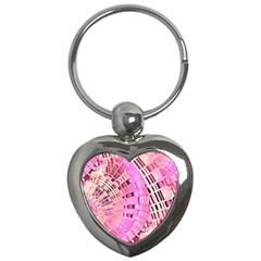 Pretty Pink Circles Curves Pattern Key Chain (Heart)