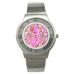 Pretty Pink Circles Curves Pattern Stainless Steel Watch