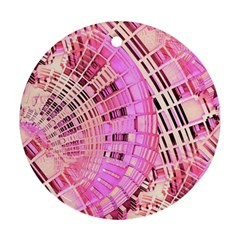 Pretty Pink Circles Curves Pattern Round Ornament (Two Sides)