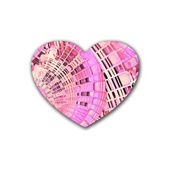 Pretty Pink Circles Curves Pattern Rubber Coaster (Heart)
