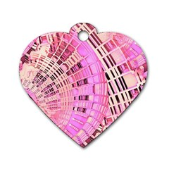 Pretty Pink Circles Curves Pattern Dog Tag Heart (One Side)