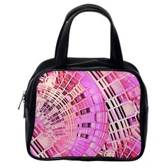 Pretty Pink Circles Curves Pattern Classic Handbag (One Side)