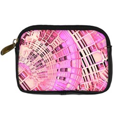 Pretty Pink Circles Curves Pattern Digital Camera Leather Case