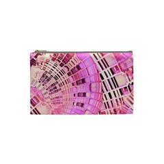 Pretty Pink Circles Curves Pattern Cosmetic Bag (Small)