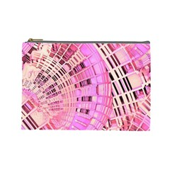 Pretty Pink Circles Curves Pattern Cosmetic Bag (Large)