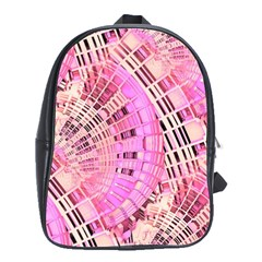 Pretty Pink Circles Curves Pattern School Bag (Large)