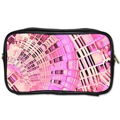Pretty Pink Circles Curves Pattern Toiletries Bag (One Side)