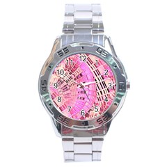 Pretty Pink Circles Curves Pattern Stainless Steel Analogue Watch