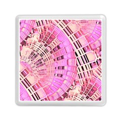 Pretty Pink Circles Curves Pattern Memory Card Reader (Square)