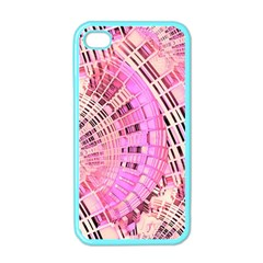 Pretty Pink Circles Curves Pattern Apple iPhone 4 Case (Color)