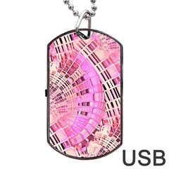 Pretty Pink Circles Curves Pattern Dog Tag USB Flash (Two Sides)