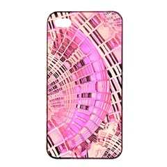 Pretty Pink Circles Curves Pattern Apple iPhone 4/4s Seamless Case (Black)