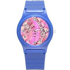 Pretty Pink Circles Curves Pattern Round Plastic Sport Watch (S)