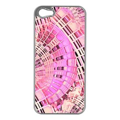 Pretty Pink Circles Curves Pattern Apple iPhone 5 Case (Silver)