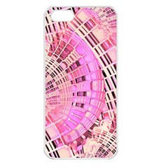 Pretty Pink Circles Curves Pattern Apple iPhone 5 Seamless Case (White)