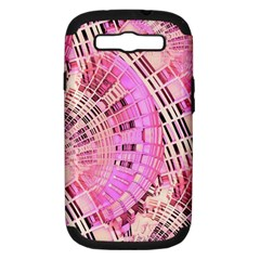 Pretty Pink Circles Curves Pattern Samsung Galaxy S III Hardshell Case (PC+Silicone)
