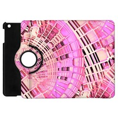Pretty Pink Circles Curves Pattern Apple iPad Mini Flip 360 Case