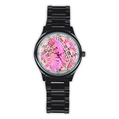 Pretty Pink Circles Curves Pattern Stainless Steel Round Watch