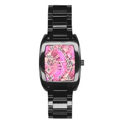 Pretty Pink Circles Curves Pattern Stainless Steel Barrel Watch