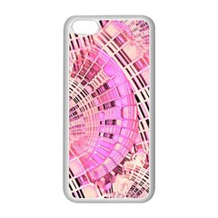 Pretty Pink Circles Curves Pattern Apple iPhone 5C Seamless Case (White)