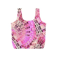 Pretty Pink Circles Curves Pattern Full Print Recycle Bag (S)