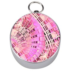 Pretty Pink Circles Curves Pattern Silver Compass