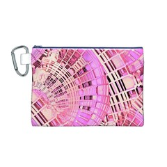 Pretty Pink Circles Curves Pattern Canvas Cosmetic Bag (Medium)