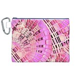 Pretty Pink Circles Curves Pattern Canvas Cosmetic Bag (XL) Front