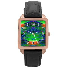Neon Night Dance Party Rose Gold Leather Watch